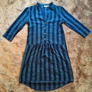 ANTHROPOLOGIE THE ODELLS Striped Blue Dress Medium